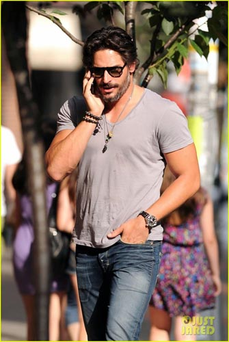 Joe Manganiello on the phone in Nolita